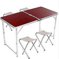 Складаний столик чемодан для пікніка, кемпінгу 120 на 60 см з 4-ма стільцями