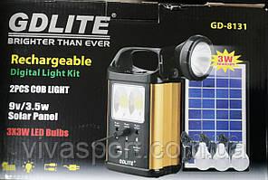 Солнечная электростанция с фонариком и 3 лампочками GDLite GD-8131