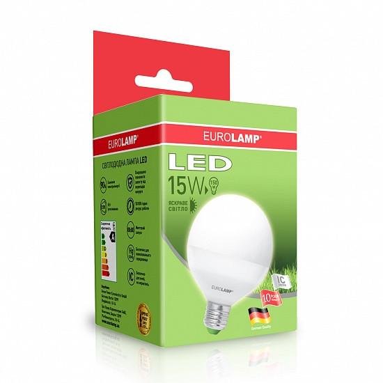 Лампа светодиодная EUROLAMP LED 15w 4000K E27 G95 15274 D шар