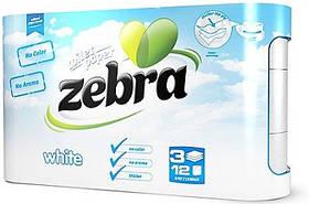 Туалетний папір ZEBRA White білий 3-куля,12 шт/уп, 18м (3800090303732)