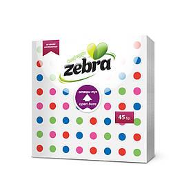 Паперові серветки ZEBRA Dots кольор.крапки 1шар,45 шт. 33*33-3824 (3800090303824)