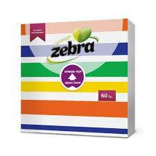 Паперові серветки ZEBRA Stripes кольорові смужки 1шар, 60 шт/уп, 33*3 (3800090304081)