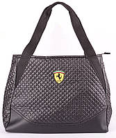 Сумка женская, стеганая Ferrari цвет черный 39х29х15 (реплика)