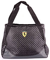 Сумка женская, стеганая Ferrari цвет черный с серым 39х29х14 SOR/591