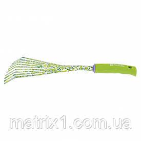 Граблі віялові 9 - зубые, 75 х 385 мм, сталеві, пластикова рукоятка, Green Flower, Palisad