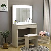 Туалетний столик + табурет AVKO ADT 001 White LED підсвічування, фото 1