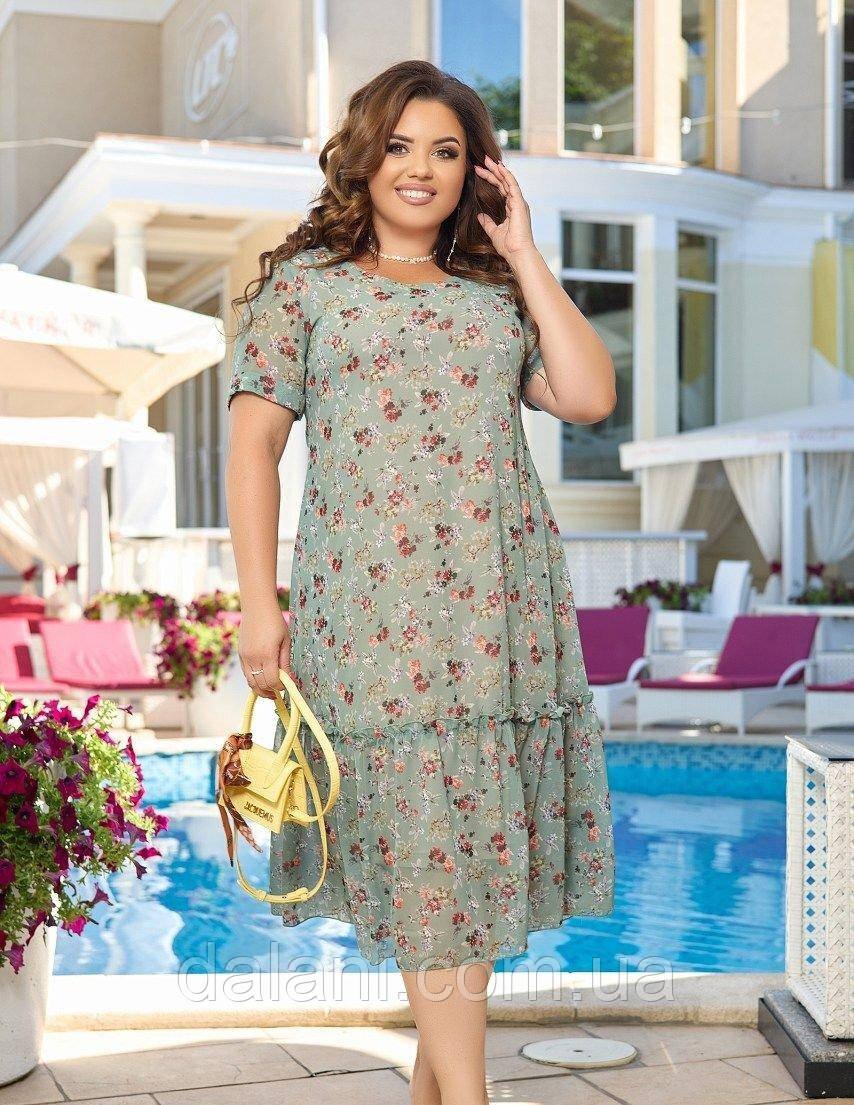 Жіноча шифонова оливкова сукня з квітковим принтом великі розміри