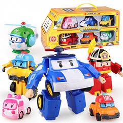 Ігровий набір з 6 героїв Робокар Полі трансформери 83168-9, poli robocar машинки, Баки, Марк