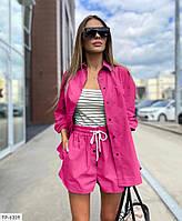 Прогулочный костюм тройка женский летний свободного кроя рубашка, топ и шорты р-ры 42-48 арт. 326