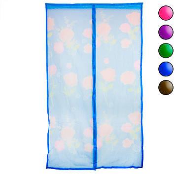 Антимоскітна сітка на двері Синя з малюнком 120х210 см, москітна штора на магнітах (сітка на двері) (NS)