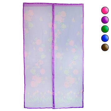Москітна штора на магнітах Фіолетова з малюнком, маскитная сітка на двері 120х210 см (москитна сітка) (NS)