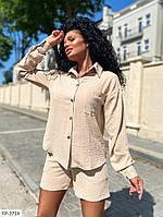 Стильний костюм жіночий річний тонкий з жатки сорочка з шортами арт. 531