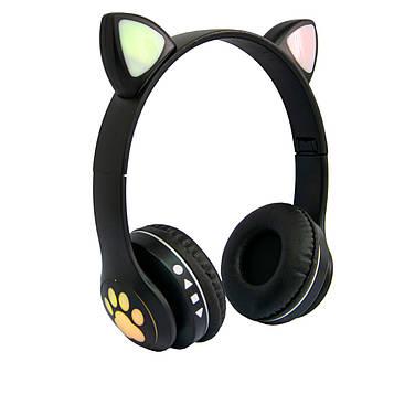 Дитячі навушники з вушками Cat ear headphones VZV-23M, Чорні бездротові навушники (навушники з вушками) (ST)