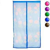 Антимоскитная сетка на двери Синяя с рисунком 120х210 см, москитная штора на магнитах (сітка на двері)  GP