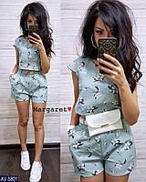 Летний костюм женский красивый блуза с короткими шортами с карманами р-ры S, M арт. 5797/5802