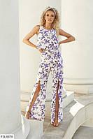 Стильний літній костюм жіночий брючний оригінальний топ і штани з розрізами р-ри 42-48 арт. 2021