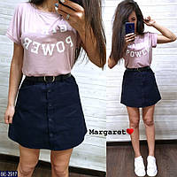 Прогулочный костюм женский летний молодежный юбочный  футболка и короткая мини юбка р-ры 42-46 арт. 2907