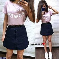 Прогулянковий костюм жіночий літній молодіжний спідничні футболка і коротка міні спідниця р-ри 42-46 арт. 2907