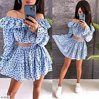 Костюм женский стильный молодежный короткий топ и юбка-шорты в горошек  р-ры 42-44 арт. 0539