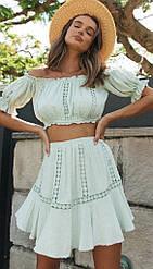 Летний женский коттоновый костюм топ+короткая юбка