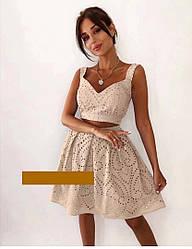 Женский летний ажурный костюм топ+юбка