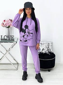 Яркий Молодежный Женский спортивный костюм в принт Микки ,Маус Трикотаж двунить лаванда бирюза беж черный.💥