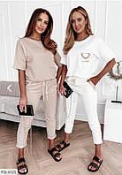 Прогулянковий костюм літній жіночий ефектний штани з футболкою з двухнитки р-ри 42-48 арт. 494