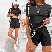 Костюм женский летний спортивный повседневный однотонный шорты с футболкой  р-ры 42-46 арт. 144