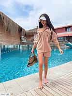 Стильний костюм жіночий легкий літній сорочка вільного крою з шортами р-ри 42-46 арт. 2099