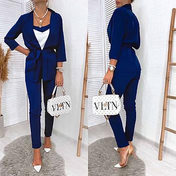 Элегантный костюм тройка, 00319 (Темно-синий), Размер 46 (L)