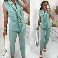 Брючный деловой костюм женский классический с жилеткой на лето из легкой ткани жатка р-ры 42-48 арт. 510