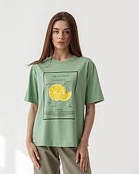 Хлопковая футболка с фруктовым принтом лимон в 4 цветах в размерах S-M, L-XL.