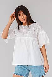 Летняя нежная натуральная блуза в черном, розовом и белом цвете в размерах S/M, L/XL. Белый