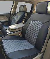 """Накидки сидений """"Экокожа"""" 3D Черные - Серый - центр 1+1  (задняя спинка,карман,боковушки)"""