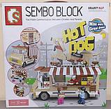 Конструктор кафе на колесах хот дог с фигурками детский 511 деталей  SEMBO BLOCK 601301, фото 3