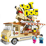 Конструктор кафе на колесах хот дог с фигурками детский 511 деталей  SEMBO BLOCK 601301, фото 4