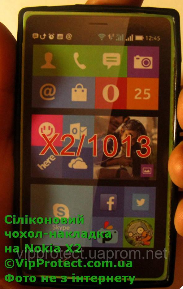 Nokia_X2, силиконовый черный чехол