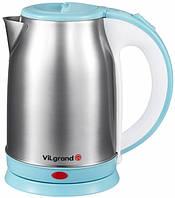 Чайник электрический ViLgrand VS018102 1.8 л Нержавеющая сталь Голубой 34-45554-1 TV, КОД: 911829