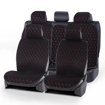 Накидки на сидения из Алькантары Черный - Красная нить PREMIUM DEKOR
