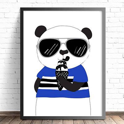 Плакат Ведмідь з морозивом формат А3