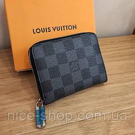 Кошелек кожаный Louis Vuitton серая шахматка на молнии mini