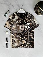 Чорна футболка оверсайз з орнаментом чоловіча   Туреччина   бавовна + поліестер, фото 1