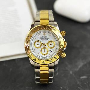Чоловічі наручні годинники Rolex Daytona Quartz Date Silver-Gold-White