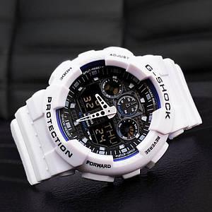 Чоловічий наручний годинник Casio G-Shock GA-100 White-Blue-Black
