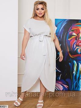 Летнее платье XL белого цвета с принтованного креп-софта