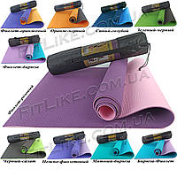Спортивный коврик для йоги и фитнеса Premium TPE 6 мм + Чехол йога мат, каремат для спорта 2-х слойный