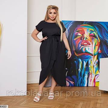 Літня сукня XL чорного кольору з принтованого креп-софта