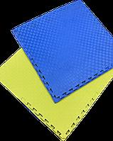 Татамі IZOLON EVA SPORT 100х100х3см, УЦІНКА синьо-жовтий з бортиком, фото 1