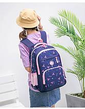 Рюкзак школьный HiFlash с сумочкой и пеналом черный с розовым, фото 3