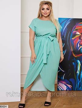 Літня сукня XL м'ятного кольору з принтованого креп-софта